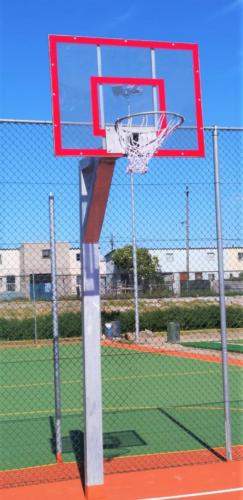 Basketball post with clear backing board